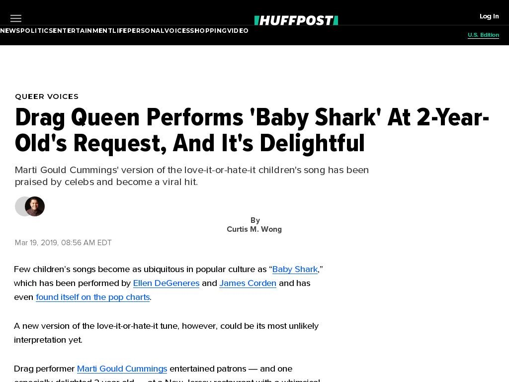 Drag Queen Performs 'Baby Shark' At 2-Year-Old's Request, And It's Delightful