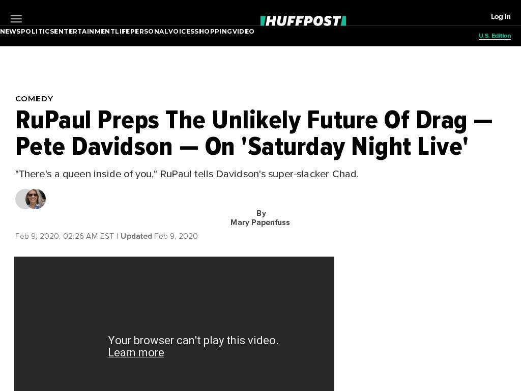 RuPaul Preps The Unlikely Future Of Drag — Pete Davidson — On 'Saturday Night Live'
